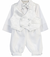 Boys Christening  Outfit Satin Brocade Knickers Set