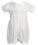 Boys Christening Outfit White Shortalls Cotton Romper Jeremy