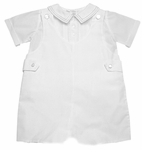 Boys Christening Outfit White Shortalls Embroidered Shirt
