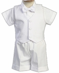 A Boys Christening Outfit White Formal Shortalls Set Dexter