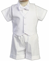 Boys Christening Outfit White Formal Shortalls Set Dexter