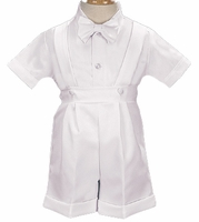 Boys Christening Outfit White Shortalls Suspenders Set