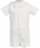 Boys Christening Outfit White Seersucker Shorts Set