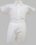 Boys Christening Outfit Cotton Linen Baptism Bobby Suit Shorts