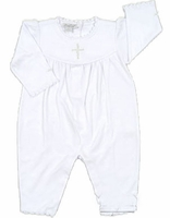 Girls Christening Outfit White Cotton Longall Cross Details 0/3 months
