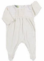 Girls Christening Outfit Ivory Velour Footie 0-3 months