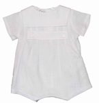 Boys Christening Outfit Linen Baby Baptism Romper Square Collar