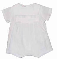 Boys Christening Outfit Linen Bubble Baptism Romper Square Collar