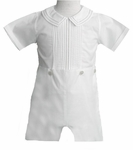 Boys Christening Outfit Pintucks Bobby Suit Shortalls