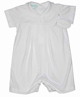 Boys Christening Outfit 100% Knit Cotton Baptism Shortalls Cross Detail