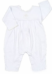 A Unisex Christening Outfit White Cotton Pima Knit Longall Cross Details