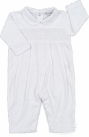 Boys Christening Outfit White Cotton Smocked Longall