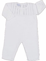 Unisex Christening Outfit White Fine Knit Longalls 100% Cotton