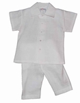 A Boys Christening Outfit White Linen Baptism Pant Set 2T
