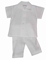 A Boys Christening Outfit White Linen Baptism Pant Set