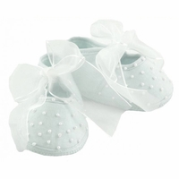 Girls Christening Shoes Baby Pearls Infant Slipper Bootie size 0