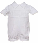 Boys Christening Outfits  Romper Classic Smocked Baptism Shortall