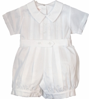 A Boys Christening Outfit Romper Cotton Pique