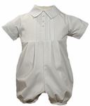 Boys Christening Outfits Romper Pintucking Baptism Shortalls Set