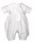 Boys Christening Outfits Fine Silk Romper Sailor Shortall Baptism Set