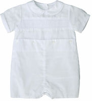 Boys Christening Outfit Romper Smocked Buttons Baptism Shortalls