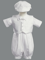 Christening Boys White Romper Vest Set