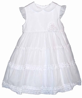 Girls Christening Dresses White Simple Ruffle Layers Baptism Outfit