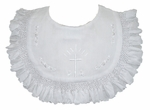 Girls Christening Bib Ruffled Heirloom Embroidery White or Ivory