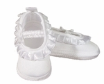 Girls Christening Shoes Baby White Satin Infant Ballet Slipper