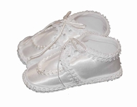 Boys Christening Shoes White Satin Booties size 2