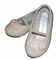 Girls Christening Shoe Ivory Patent Flats for Baptism 6 or 8