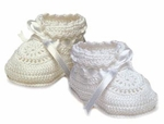 Unisex Christening Shoes White Knit Bootie
