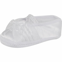 Girls Christening Shoe White Satin Organza Infant Slipper size 3