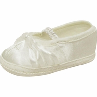 Girls Christening Shoes Infant Ivory Satin Organza Baby Booties size 0