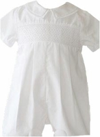 A Boys Christening Outfit Shortalls Smocked Baptism Romper 6 months