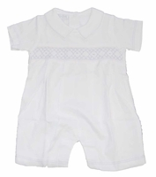 Boys Christening Outfit Shortalls Cotton Light Smocking 0/3 months