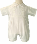 Boys Christening Outfits Fine Silk Romper Simple Baptism Shortall Set