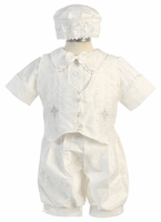 A Christening Silk Romper Set Embroidered