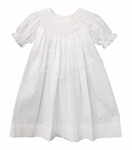 Girls Christening Dress Bishop Smocked Baptism Day Gown
