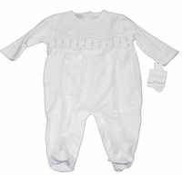 Unisex Christening Outfit Baby Cotton White Smocked Footie