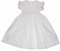 Girls Christening Dress Smocked Light Pink and White Cotton