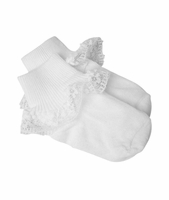Girls Christening Socks Anklet Lace White