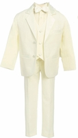Boys Christening Suit Ivory Tuxedo Notch Collar 3-6 months