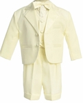 Boys Christening Suit Ivory Tuxedo Shorts