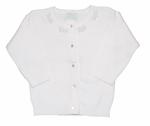 Girls Christening Sweater White Beaded Cardigan