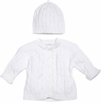 Unisex Christening Sweater White Cotton Set 6-12 months