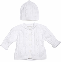 Unisex Christening Sweater White Cotton Set