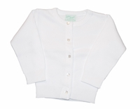 Unisex Christening Sweater White Simple Cardigan