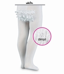 Girls Christening Tights White Rumba Ruffles