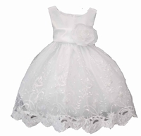Girls Christening Dresses Fancy Toddler Satin and Embroidered Organza